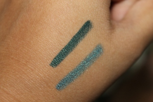 Single swatch; Emerald on top, Amazonite Blue on bottom.